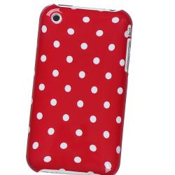 Red with White Dot Case/ Screen Protector for Apple iPhone 3G/ 3GS - Thumbnail 1