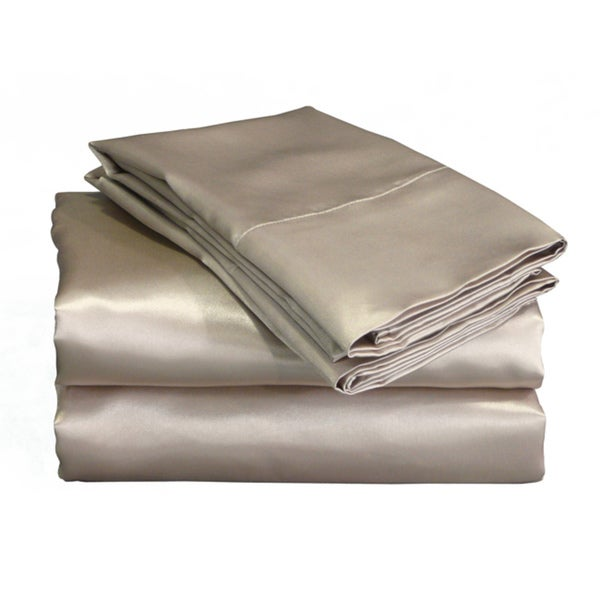 Charmeuse II Mocha Satin Sheet Set