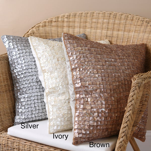 Aurora Home Mother of Pearl 18x18-inch Pillows (Set of 2)