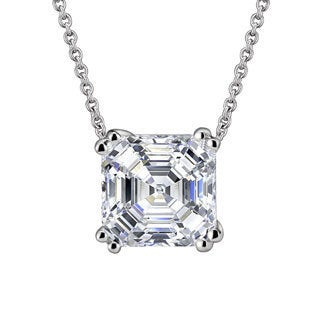 Collette Z Sterling Silver with Rhodium Plated Clear Asscher Cubic Zirconia Solitaire Pendant Necklace