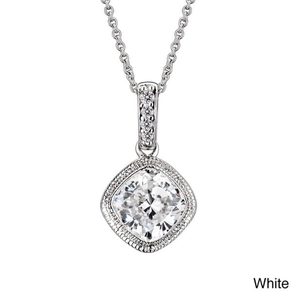 Collette Z Sterling Silver Cushion-cut Cubic Zirconia Necklace