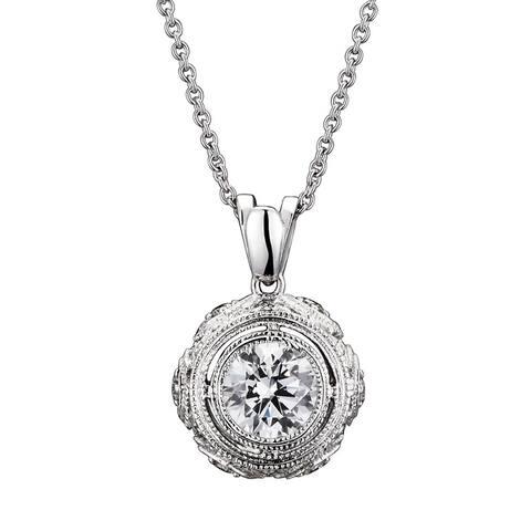 Collette Z Sterling Silver Round-cut Cubic Zirconia Art Deco Necklace