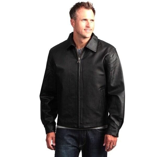 2e8832c4c Shop Men's Black Basic Leather Jacket Zip Front Removable Liner ...