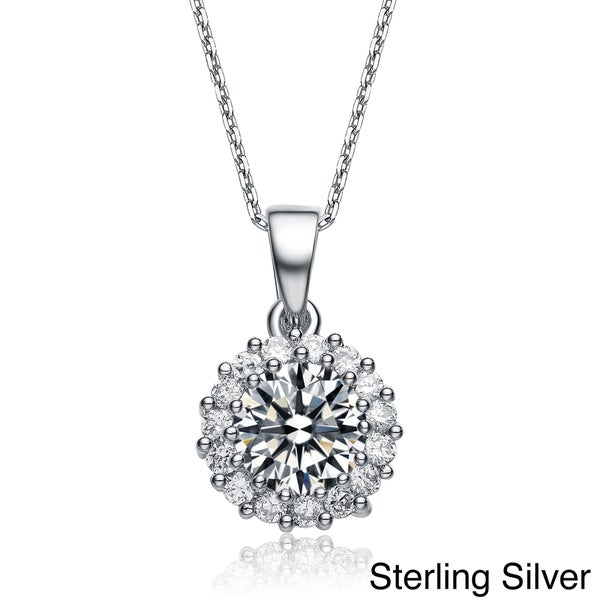 Collette Z High-polish Sterling Silver and Round-cut Cubic Zirconia Necklace