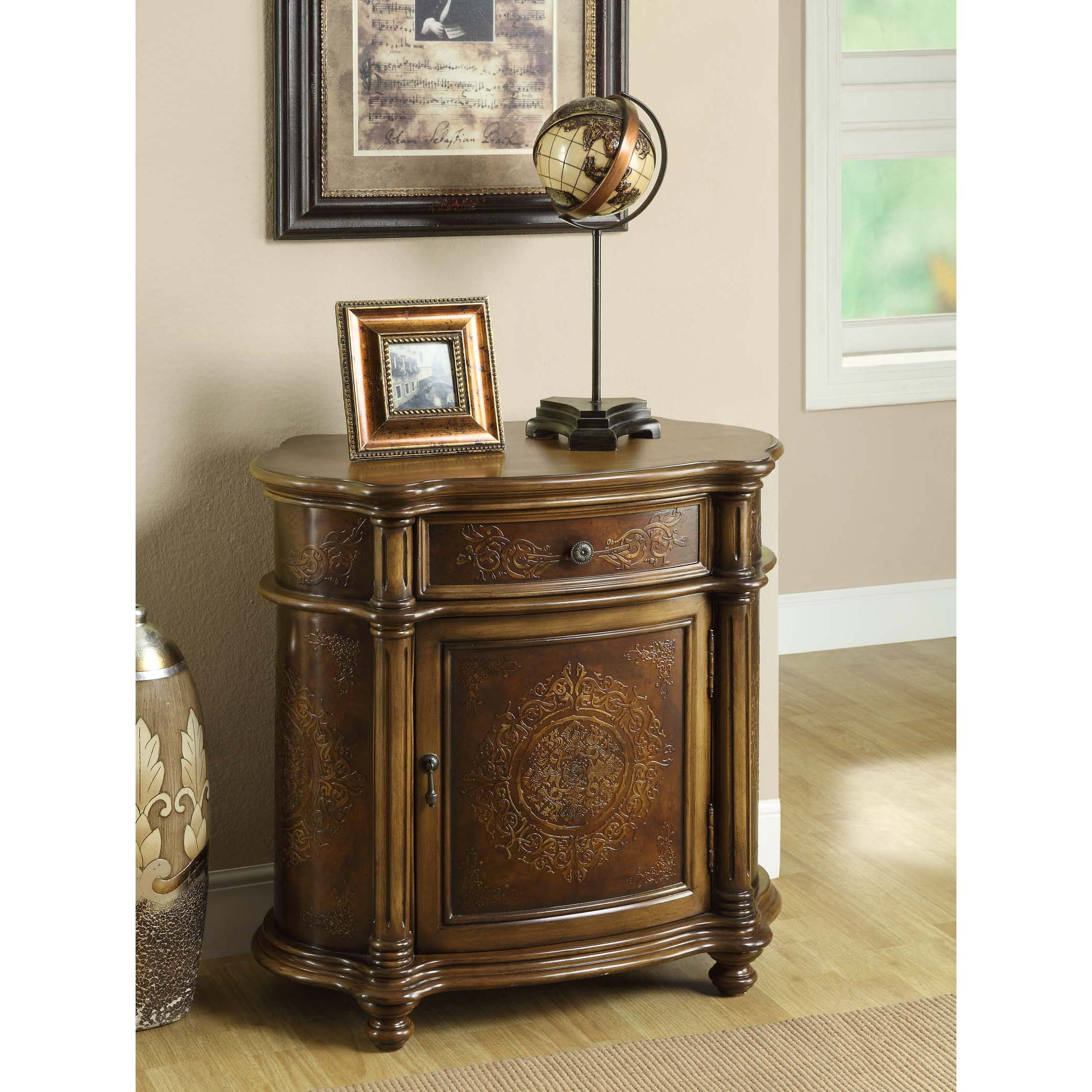 Captivating Bombay Light Brown Engraved 1 Drawer Cabinet