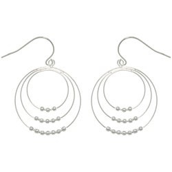 Carolina Glamour Collection Sterling Silver Graduated Hoop and Bead Dangle Earrings
