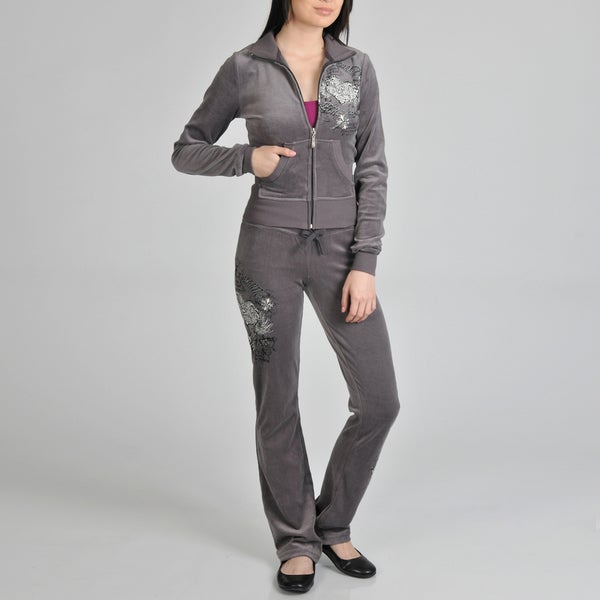 Tabeez Women's Charcoal Velour Track Suit