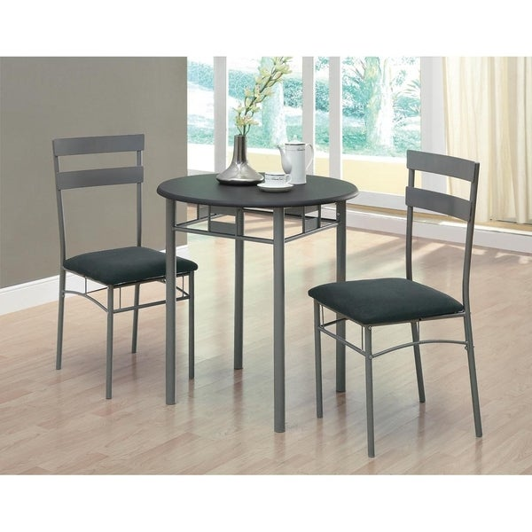 Black / Silver Metal 3-piece Bistro Set