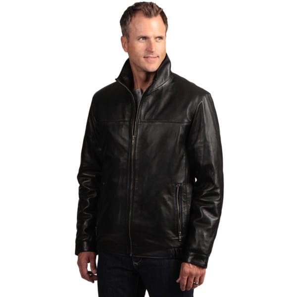 Izod Men's Lambskin Leather Stand Collar Jacket