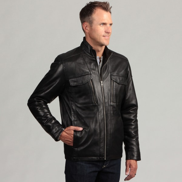 Izod Men's Zip-Front Lambskin Leather Jacket