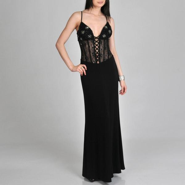 Janine of London Women's Sheer Lace-up Corset Long Dress