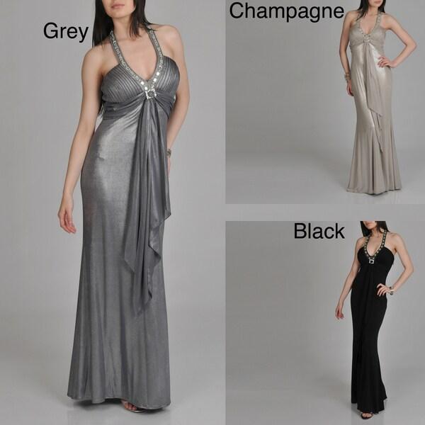 Janine of London Women's Halter Rhinestone Detail Sleeveless Long Dress
