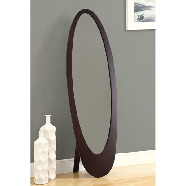Cappuccino Contemporary Oval Cheval Mirror