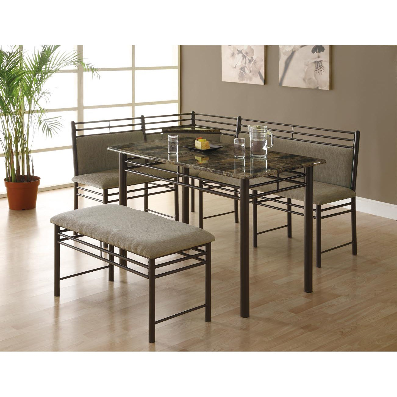 Cappuccino Marble/ Bronze Metal 3-piece Dining Set