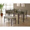 Cappuccino Marble/ Bronze Metal 3-piece Dining Set