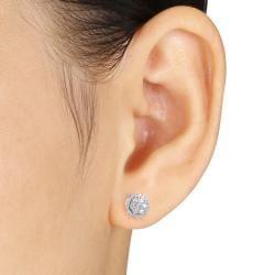 Miadora 10k White Gold 1/4ct to 1ct TDW Diamond Halo Earrings(G-H, I1-I2) - Thumbnail 2