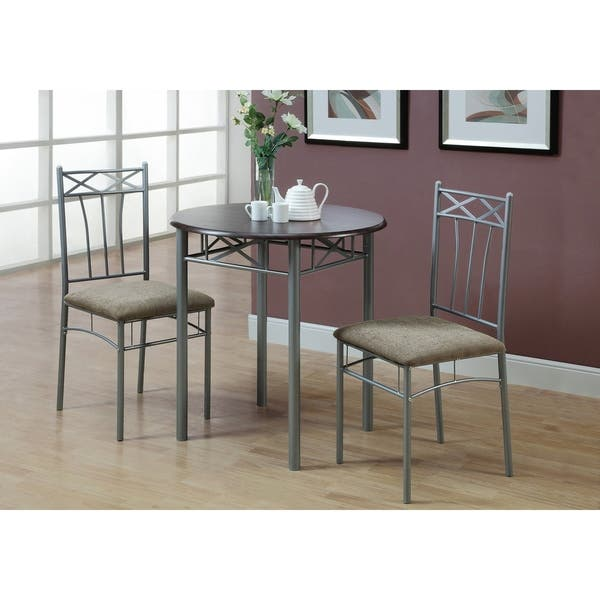 Silver Metal 3 Piece Bistro Table Set