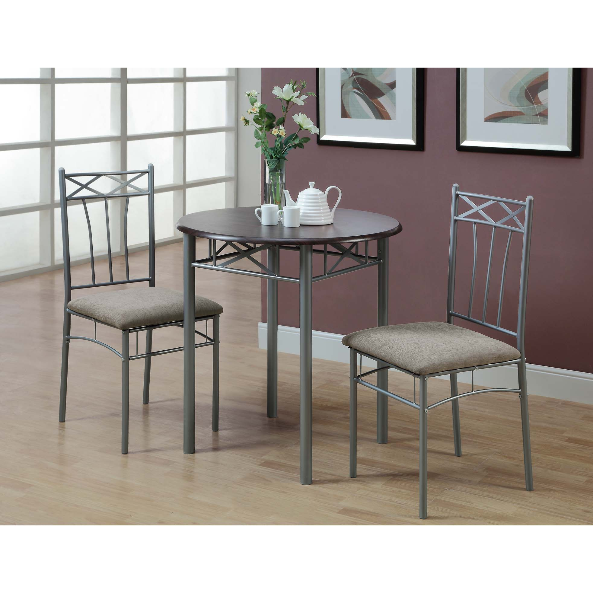 Cappuccino/ Silver Metal 3-piece Bistro Table Set - Free Shipping ...
