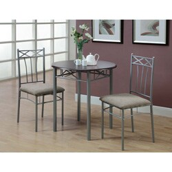 Cappuccino/ Silver Metal 3-piece Bistro Table Set