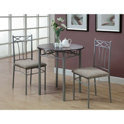 cappuccino silver metal 3piece bistro table set
