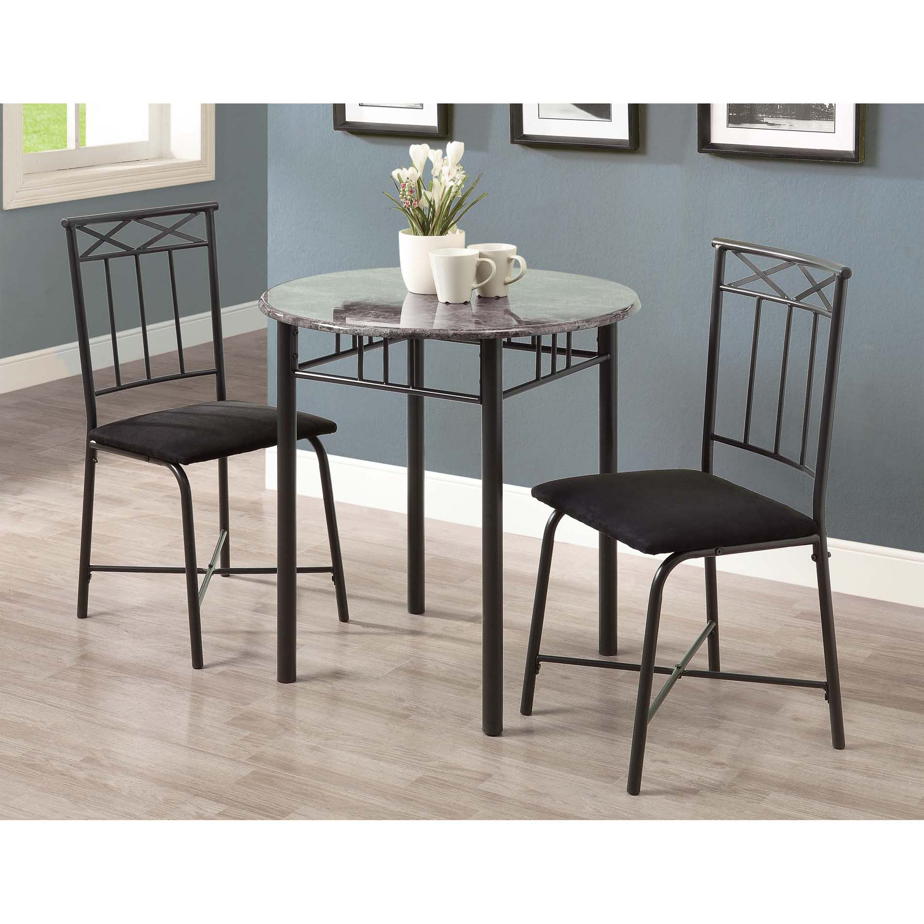 grey marble charcoal metal 3 piece bistro set free shipping today overstock 14346267. Black Bedroom Furniture Sets. Home Design Ideas