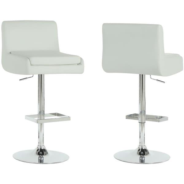 White/ Chrome Metal Hydraulic Lift Barstools (Set of 2)