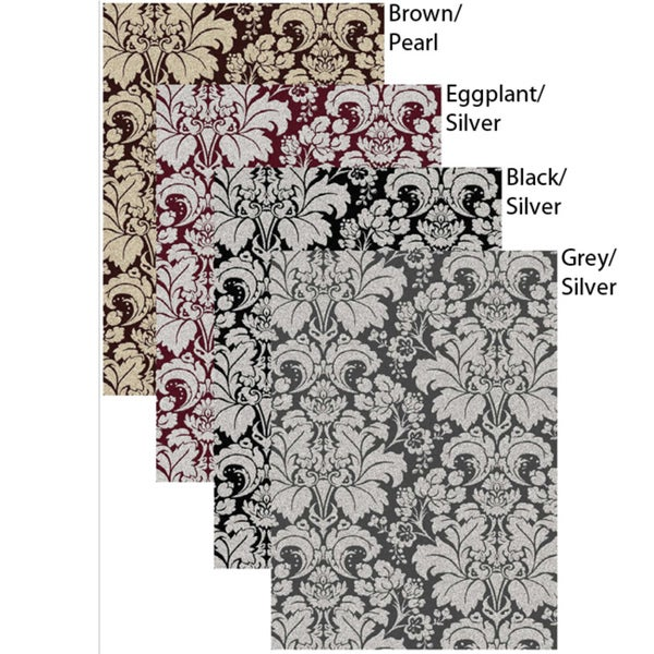 Admire Home Living Brilliance Damask Area Rug (30 x 50)