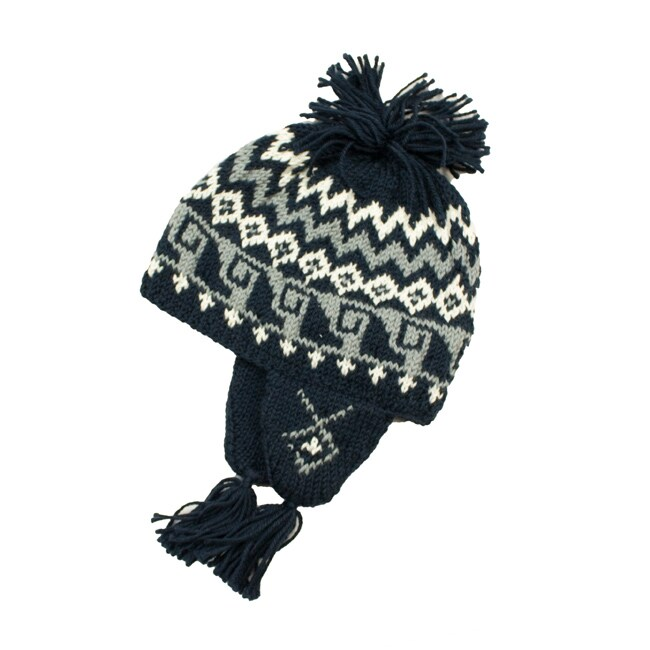Leisureland Women's Hand-crocheted Black Geometric Beanie Hat