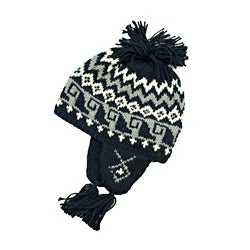 Leisureland Women's Hand-crocheted Black Geometric Beanie Hat