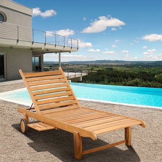 Teak Chaise Lounge Chairs deluxe teak chaise lounge with tray - free shipping today