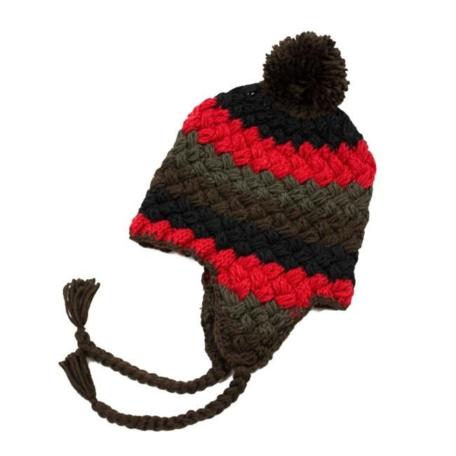 Leisureland Women's Hand-crochet Red/ Brown Beanie Hat