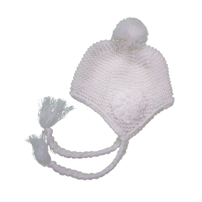 Leisureland Women's White Flower Beanie Hat