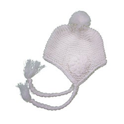 Leisureland Women's White Flower Beanie Hat