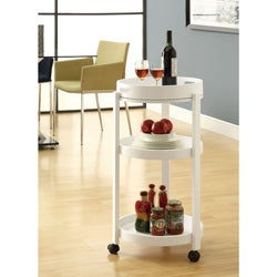 White Bar Cart With A Serving Tray On Castors - Thumbnail 0