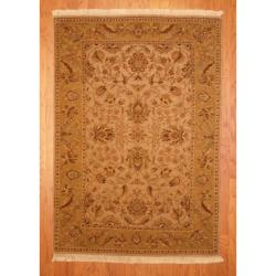 Herat Oriental Indo Hand-knotted Vegetable Dye Gold/ Beige Wool Rug (4'2 x 5'10)