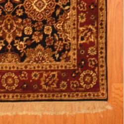 Indo Hand-knotted Mahal Black/ Burgundy Wool Rug (3'9 x 6') - Thumbnail 2