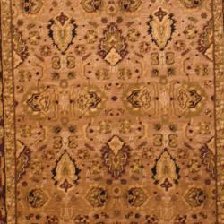 Indo Hand-knotted Mahal Beige/ Burgundy Wool Rug (3'8 x 6')
