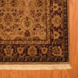 Indo Hand-knotted Mahal Beige/ Burgundy Wool Rug (3'8 x 6') - Thumbnail 2