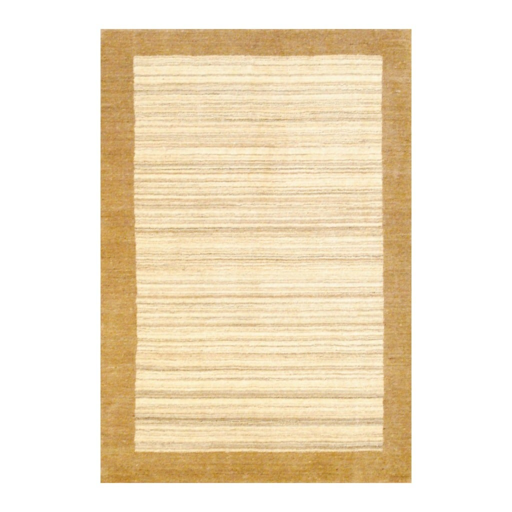 Indo Hand-knotted Tibetan Ivory/ Beige Wool Rug (4'2 x 6')