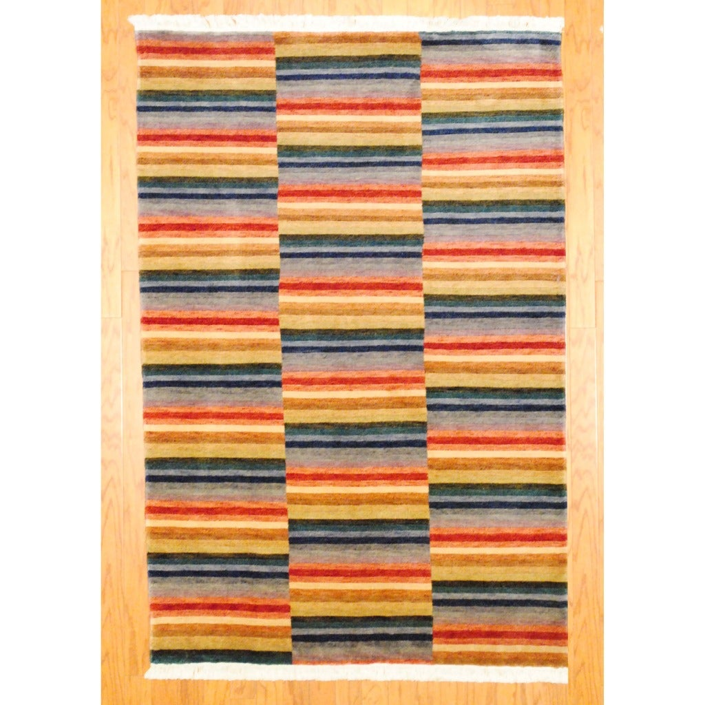 Indo Hand-knotted Tibetan Red/ Blue Wool Rug (4' x 6')