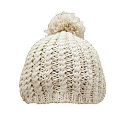 Leisureland Hand-crocheted Tan Acrylic Beanie Hat