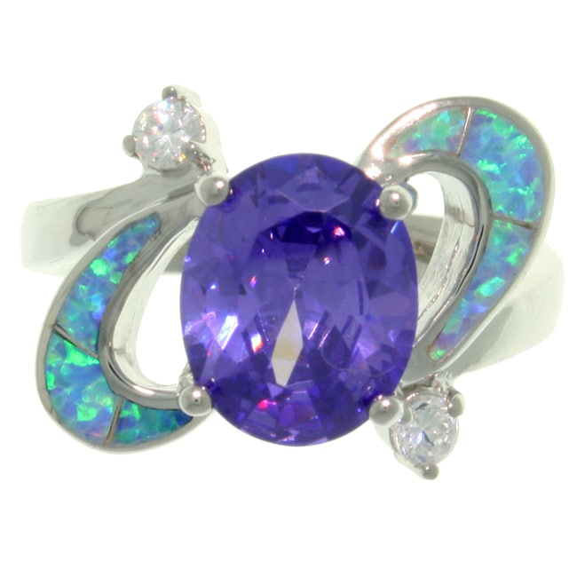 Carolina Glamour Collection High-Polish Sterling Silver Purple Cubic Zirconia and Created Blue Opal