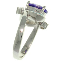 Carolina Glamour Collection High-Polish Sterling Silver Purple Cubic Zirconia and Created Blue Opal - Thumbnail 1