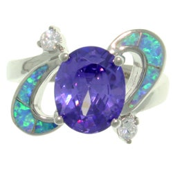 Carolina Glamour Collection High-Polish Sterling Silver Purple Cubic Zirconia and Created Blue Opal Ring