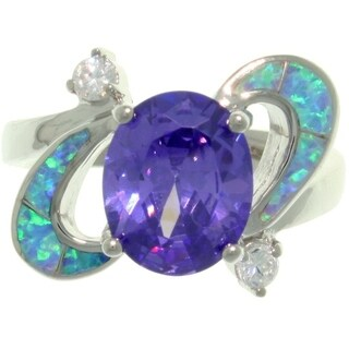 High-Polish Sterling Silver Purple Cubic Zirconia and Created Blue Opal Ring