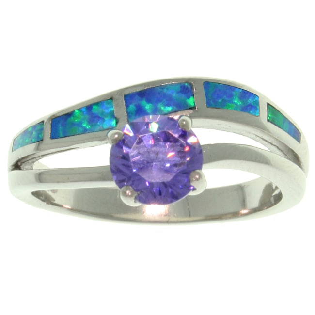 Carolina Glamour Collection Sterling Silver Purple Cubic Zirconia and Created Blue Opal Ring