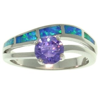 Sterling Silver Purple Cubic Zirconia and Created Blue Opal Ring