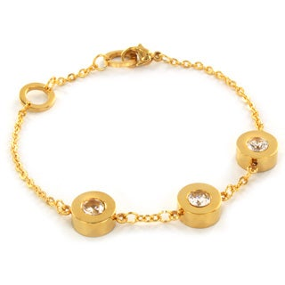 Stainless Steel Tri-set Goldtone and CZ Bracelet