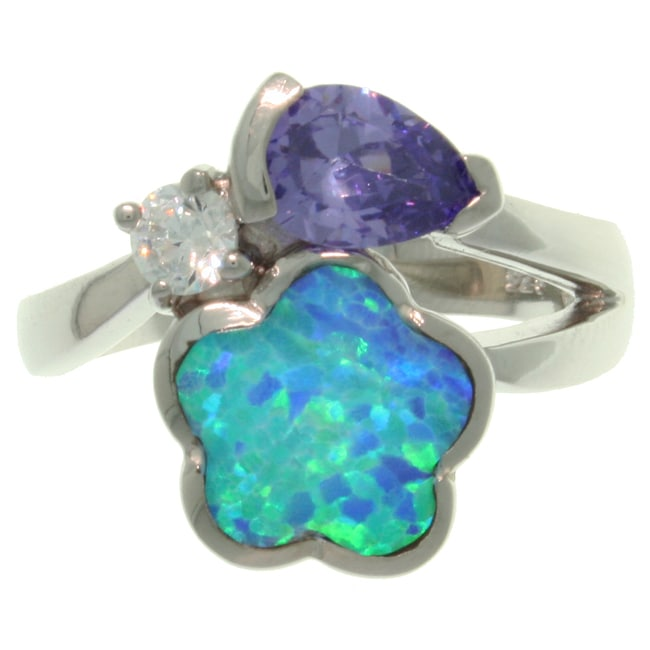 Carolina Glamour Collection Sterling Silver Created Blue Opal and Cubic Zirconia Flower Embrace Ring