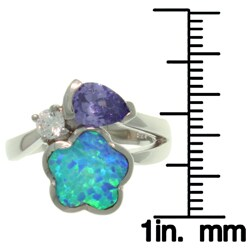 Carolina Glamour Collection Sterling Silver Created Blue Opal and Cubic Zirconia Flower Embrace Ring - Thumbnail 2